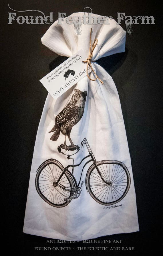 "Printed Cotton Flour Sack Tea Towel with Original  ""Bicycle Owl"" Design"