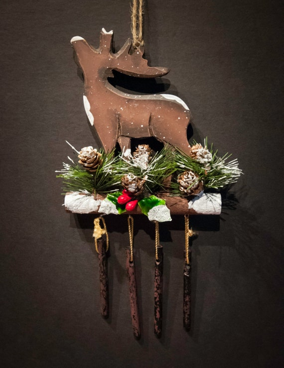 Reindeer with Chimes Holiday Ornament