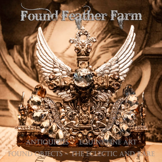 Handmade Rusted Silver Metal Crown with Ornate Silver Wings, A Cross and Sparkling Rhinestones