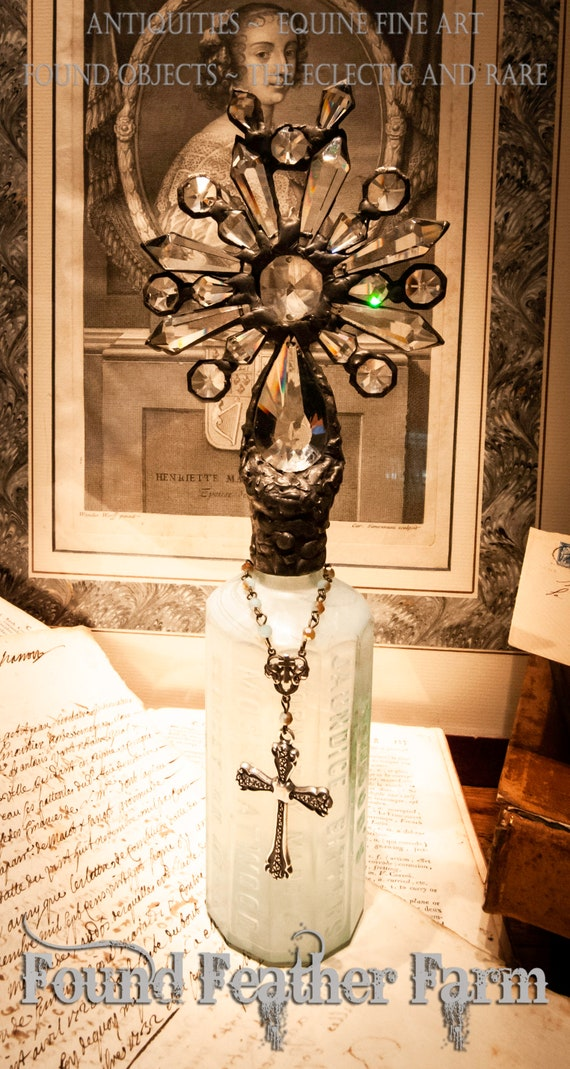Handmade Glass Cross Bottle With an 1870's Antique Glass Bottle Bass and Vintage European Crystals