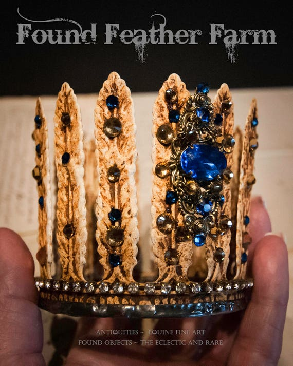 Handmade Embellished Rusted Creme Acanthus Tin Crown with Vintage Sapphire Blue Jewels