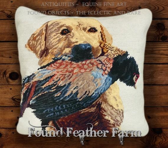 "Handmade 18"" x 18"" Needlpoint Pillow with a Goose Down Fill Featuring a Yellow Labrador Retrieving a Fresh Pheasant"