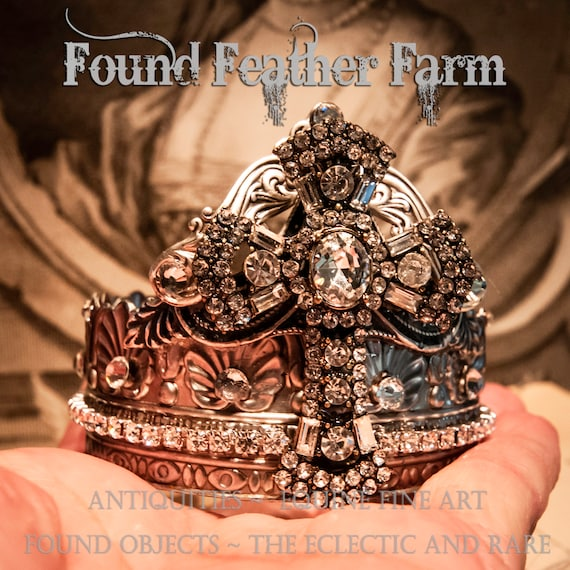 Handmade Jeweled Silver Crown Featuring a Stunning Rhinestone Cross