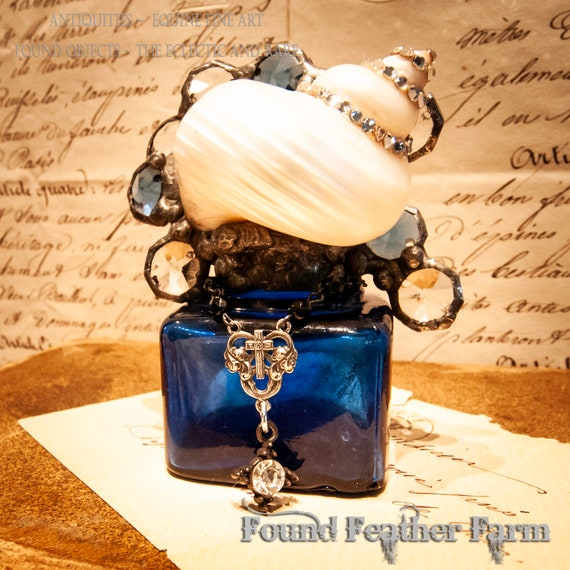 Reserved for Naomi ~ Wonderful Handmade Cobalt Blue Cross Bottle with a Polished Turbo Shell and Rhinestones