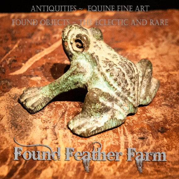 Vintage Solid Bronze Frog with Oxidized Patina