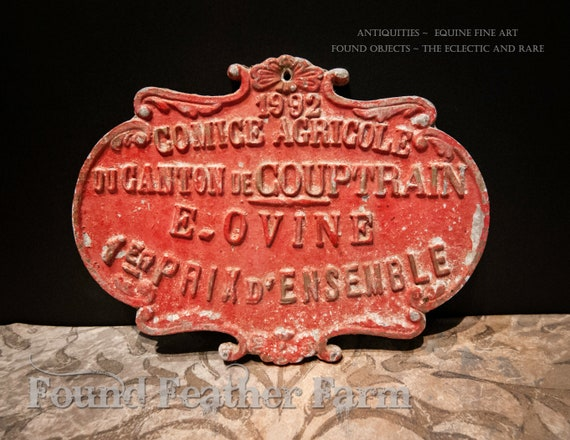 Vintage French Award for Livestock dated 1992