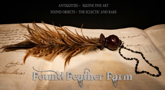 A Vintage Handmade Feather Tassel with Natural Pheasant Feathers