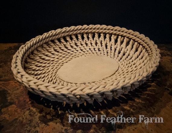 Italian Terra Cotta Vintage Handmade Woven Basket