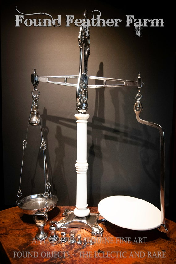 Very Rare Chrome and Porcelain Antique English Victorian Dairy Scales with Weights by W & T Avery