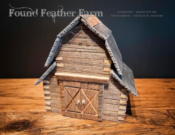 Handmade Miniature Log Barn with Slate Roof