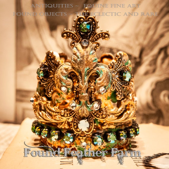 Handmade Painted Metal Crown with a Brass Ornate Fleur de Lis and Sparkling Rhinestones