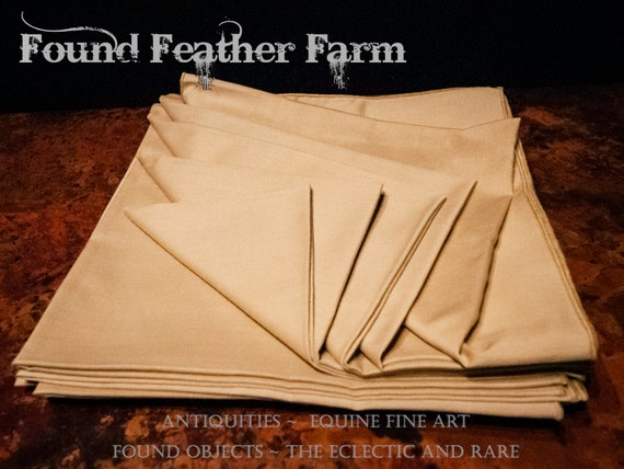 Set of 12 Vintage Cotton/ Poly Dinner Napkins