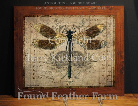 "The Dragonfly ~  Original Vintage Art Collage 20"" x 24""Framed Giclee Print"