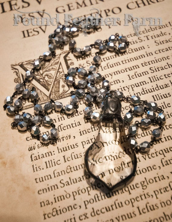 Handmade Soldered Baroque Crystal Pendant on a Handmade Beaded Silver Finished Rosary Chain