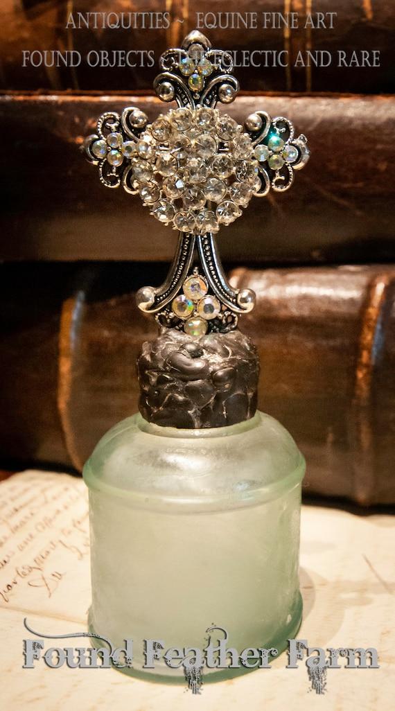 Handmade Glass Cross Bottle with an 1800's era Antique Seafoam Green Glass Bottle Base