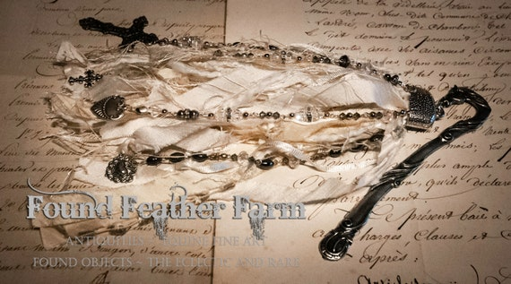 Handmade Silk Ribbon and Bead Tassel with a Pewter Silver Horse Head Bookmark