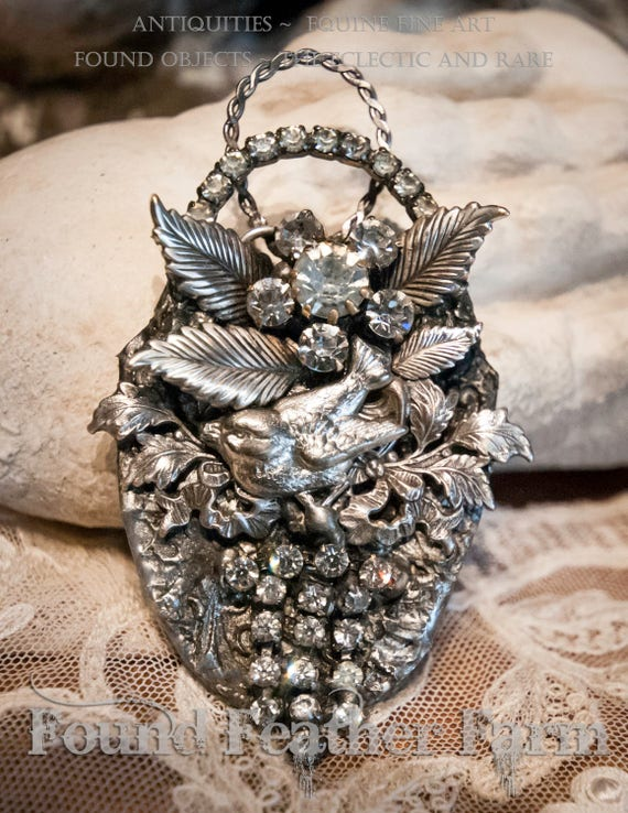 Handmade Jewelry Pendant with Vintage Rhinestones and Nickel Silver Details