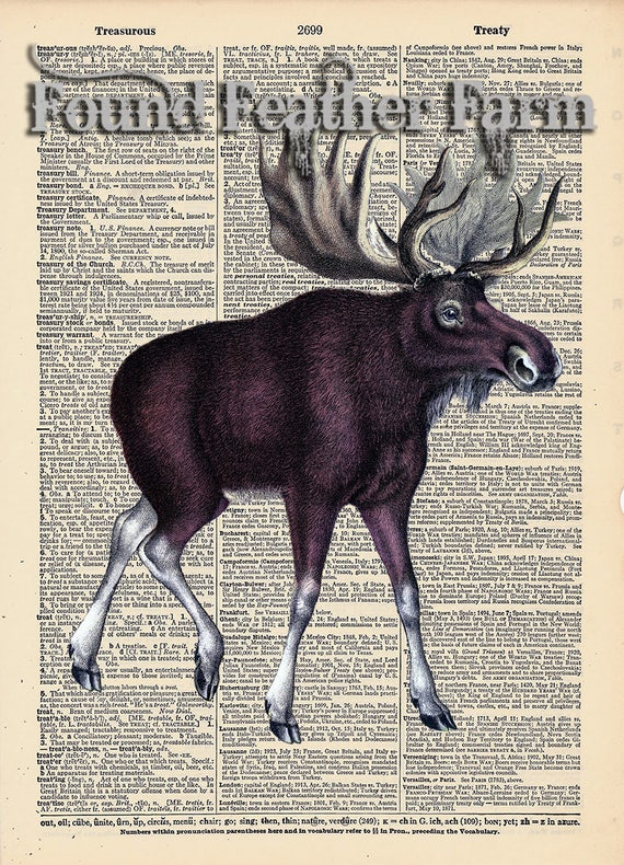 "Vintage Antique Dictionary Page with Antique Print ""Moose"""