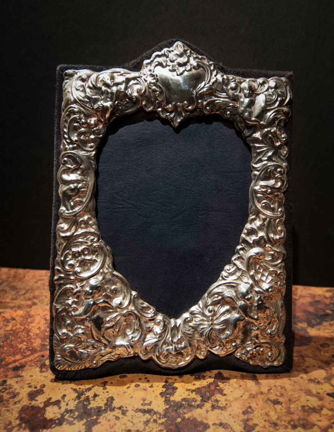 Fine English Vintage Sterling Silver Repousse Heart Shaped Photo Frame