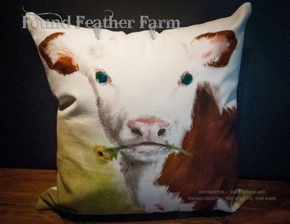 On Sale! ~ Handmade Cotton Pillow of a Precious Red and White Holstein Calf