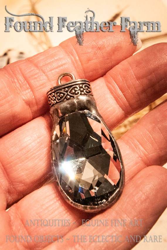 Handmade Soldered Silver Crystal Teardrop Pendant with Pewter Patina and Silver Scrolled End Cap