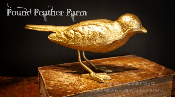 Large Gold Leaf Cast Iron Sparrow