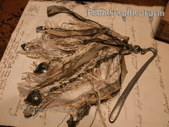 Handmade Silk Ribbon and Beaded Tassel with a Silver Pewter Vintage Bookmark and an Antique Thimble
