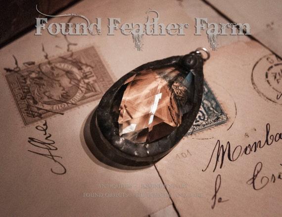 Medium Handmade Pewter Soldered Honey Toned Vintage Crystal