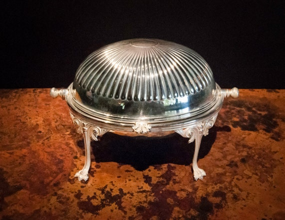 Antique English Silver Plate Revolving Butter Dish
