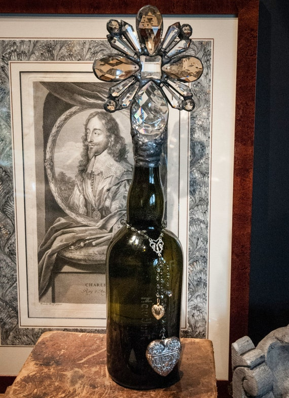 Handmade Glass Cross Bottle with Antique Olive Green Glass