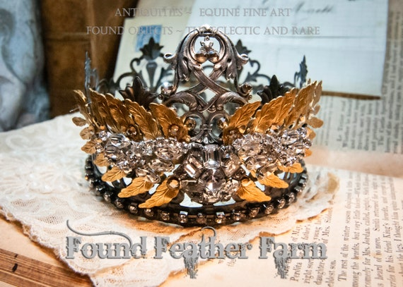 Stunning Large Handmade Crown with a Gold Frond Leaf Garland and Layers of Vintage Rhinestone Jewels