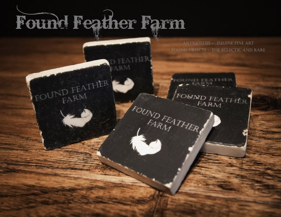 Found Feather Farm Brand Italian Tumbled Marble Magnets