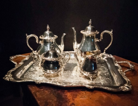 Five Piece Rochelle Silver Plate Holloware Tea Set