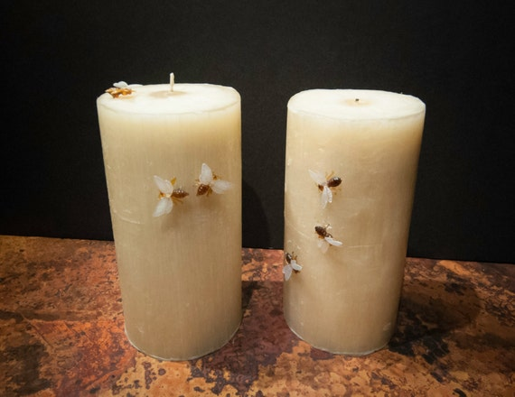 Handmade Pure Beeswax Candle with Faux Bees