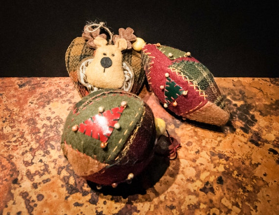 Set of Three Patchwork Christmas Tree Ornaments