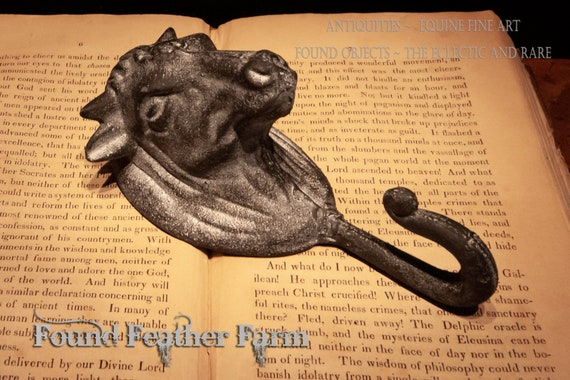 Wonderful Black Cast Iron Farmhouse Cow Hook with a Pewter Wash