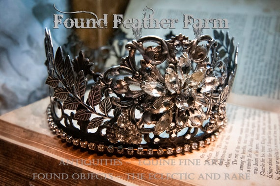 Fantastic Large Handmade Crown with Silver Leaf Garlands and Sparkling Vintage Rhinestones
