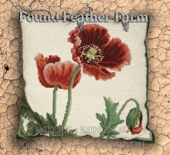 Handmade Needlepoint Poppy Flower Pillow with Goose Down Insert