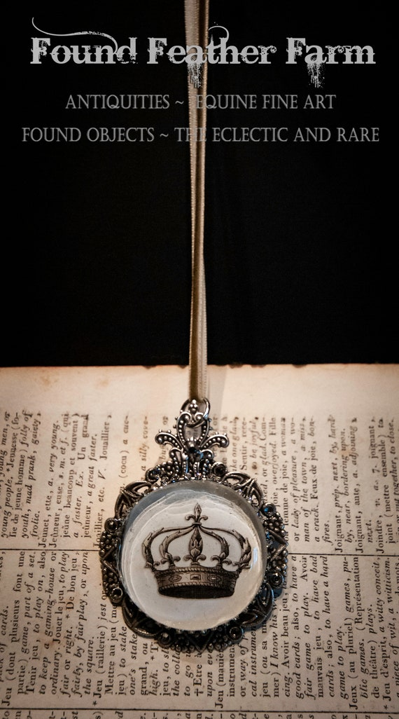 Handmade Medium Ornament with a Jeweled Embellished Glass Cabochon Featuring an English Crown Image
