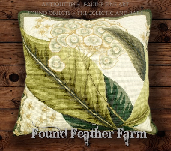 """Handmade 18"""" x 18"""" Needlpoint Pillow with a Williamsburg Botanical Image and with Goose Down Fill"""