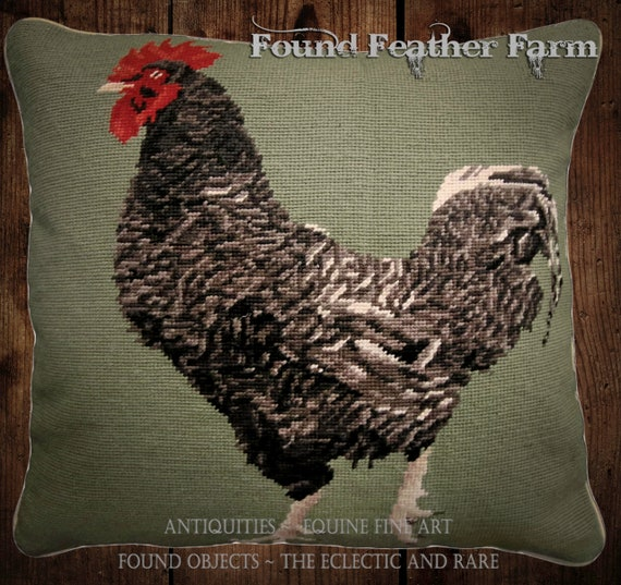 "Handmade Wool 18"" x 18"" Needlepoint Pillow of a Black French Maran Rooster with Down Fill"