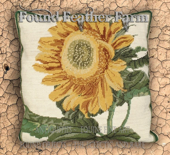Handmade Needlepoint Sunflower Flower Pillow with Goose Down Insert