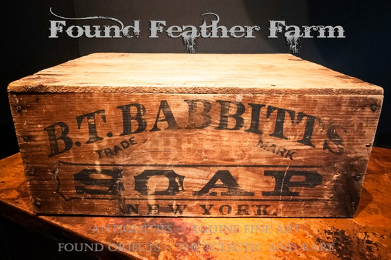 Rare 150 Year Old Dated Antique Wooden Soap Box from B.T. Babbitt's Soap of New York