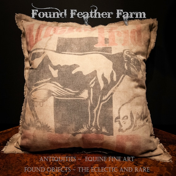 Vintage Handmade Reproduction Allen's Pride Feed Sack Pillow