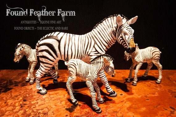 Mother Zebra Plastic Resin Figurine with Three Foals