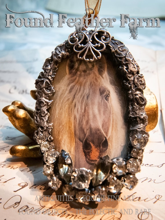 Handmade Gilded Solder Equine Pendant Featuring a Stunning Andalusian Horse Stallion