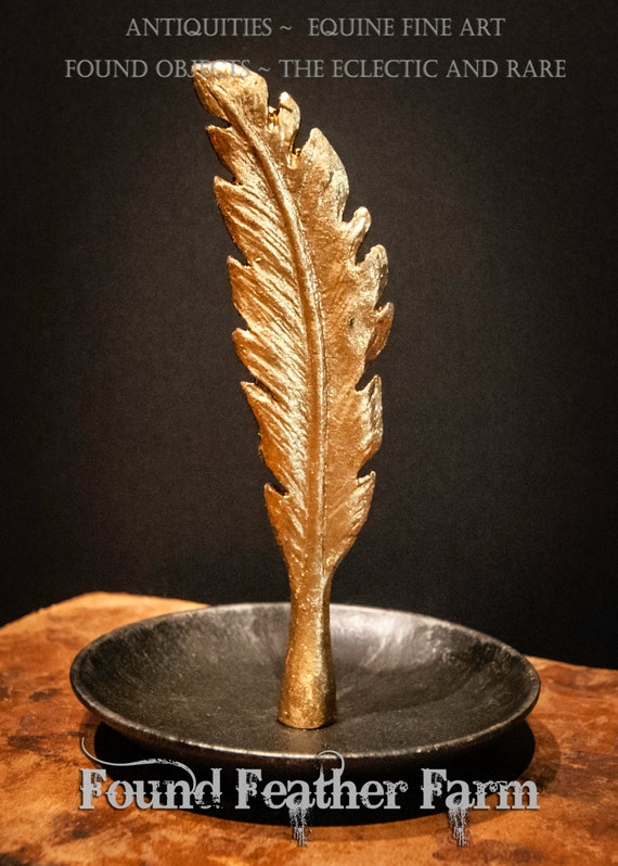 Pewter Feather Dish with Black And Gold Finish