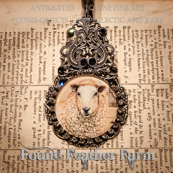 Handmade Embellished Medium Glass English Sheep Ornament with Taupe Organza Ribbon