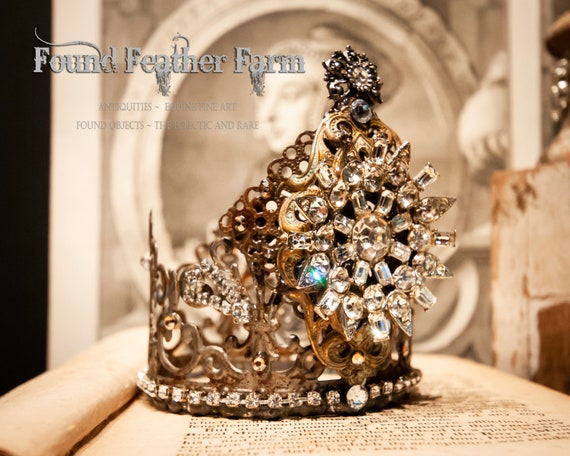 Handmade Rusted Silver Lace Tin Crown Heavily Embellished with Vintage Jewels
