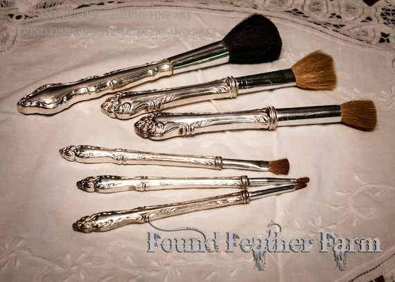 Set of Six Vintage Sterling Silver Repousse Vanity Brushes in Assorted Sizes